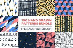 100 Hand Drawn Patterns Bundle by kloroform on @creativemarket