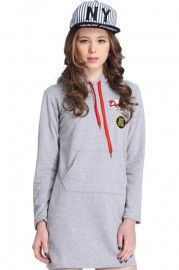 Hooded Letters Print Slim Grey Autum Dress