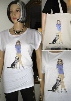 Tee + Tote Package. Rolled Sleeve T-shirt and Tote bag Alice with Alsatian German Shepherd design by Alice Brands