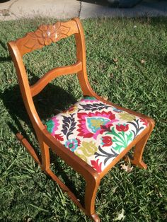 Vintage Red Chair Eye Catching Limited Release Fabric 1940 S Sewing Rocker Carved Rose