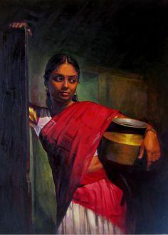 25 Beautiful Rural Indian Women Paintings by Tamilnadu artist ilayaraja realistic tamil woman painting Classic Paintings, Indian Art Paintings, Christmas Paintings On Canvas, Female Art Painting, Painting, Woman Painting, Beautiful Paintings, Abstract Art Gallery, Realistic Paintings
