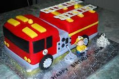 Fire Truck Birthday Cakes and Cupcakes