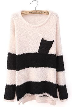 Ladies Top Euro Style Long Sleeve Round Neck Stripe Beige Knitting Sweater One Size @ II1006be
