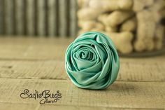 """Teal Rolled Satin Flower Collar Accessory - Small 1.5"""" Flower"""