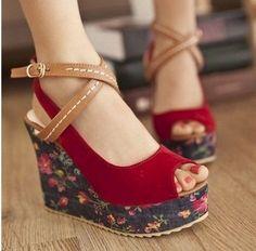 ENMAYER 2014 New Fashion Rome Style Ankle Straps High Wedge Heels Flower Platform Sandals Women Dress Casual Summer Shoes $58.50