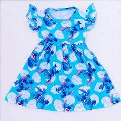 Hot Selling Children Summer Short Sleeve Clothes Baby Girls Blue Dress Cartoon Stitch Printed Dresses Milksilk Boutique with bow Blue Dress Outfits, Girls Blue Dress, Little Girl Dresses, Blue Dresses, Girl Outfits, Summer Dresses, Outfit Summer, Summer Baby, Summer Girls