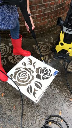 Our driveway art® stencils give you an easy way to enhance the curb appeal of your home! All you need is our stencil, a pressure washer and dirty concrete. Simply place our reusable stencils on dirty Hardscape Design, Design Patio, Stencil Concrete, Painting Concrete, Concrete Art, Stamped Concrete, Backyard Projects, Outdoor Projects, Diy Projects