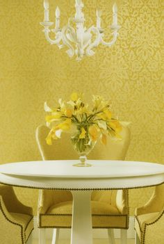 Sunshine Yellow Damask Wallpaper by Brewster. Find this pattern at AmericanBlinds.com.