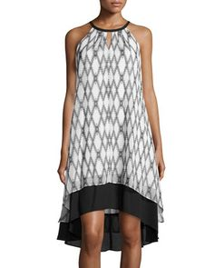 Sleeveless Geo-Print Trapeze Dress, Black/White by Maggy London at Neiman Marcus Last Call.