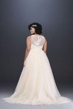 bb76df3dde78 A-Line Appliqued Glitter Tulle Wedding Dress | David's Bridal Plus Size  Wedding, Wedding