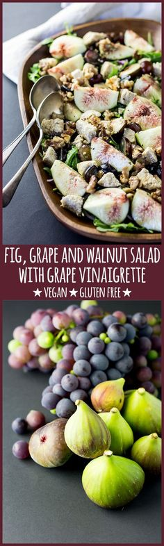 Fresh figs and grapes, walnuts and red onion, on a bed of rocket and dressed with a simple grape vinaigrette make a stunning autumn salad. #vegan #glutenfree #vegetarian #dairyfree #figs #grapes #walnuts #salad #autumn #vinaigrette #dressing #plantbased #healthy #wholefoods