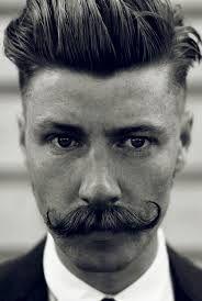 Men's 1920's style mustash. hair stylist can slick back hair