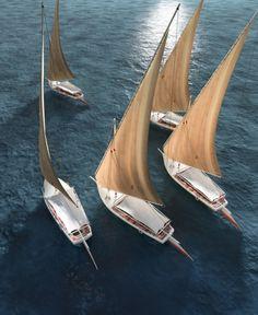 Faluccas sailing along the Nile, Cairo, Egypt