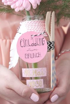 Muttertag Brunch Einladung in der Flasche 2 Mehr