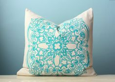 Turquoise Moroccan Linen Pillow Cover Decorative by LaurenAlison, $57.00