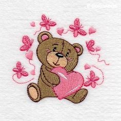 Bear Designs for Embroidery Machines Owl Applique, Applique Embroidery Designs, Computerized Embroidery Machine, Brother Embroidery, Heart Painting, Bear Design, Janome, Pet Birds, Free Design