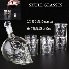 Gothic Crystal Skull Wine Shot Whiskey Vodka Glass Decanter Bottle Cup Halloween