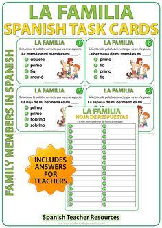 Spanish Family Members - Task Cards - Miembros de la familia en español
