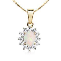 Oval Cabochon Opal and Diamond Border Pendant
