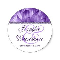 Elegant Wedding Favor Label PURPLE Flower Petals  This design with its flower petals peeking through is a pretty envelope seal for your engagement, save the date, and wedding announcements and invitations. Can also be used as a wedding favor label.