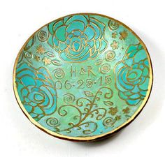 Personalized Gift-Mint Green Ring Dish polymer clay Bowl