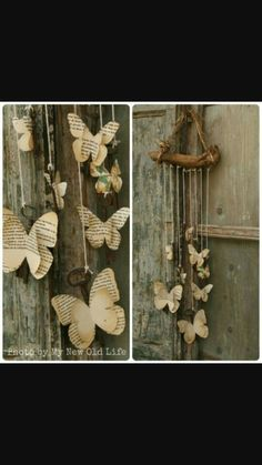 Papillon_Tutorial Chiavi Alate [My New Old Life: Mademoiselles des ideès] / Diy Wedding Gift - Wood Mobile with old book pages butterflies Diy Old Books, Old Book Crafts, Book Page Crafts, Book Page Art, Old Book Pages, Recycled Books, Recycled Clothing, Recycled Fashion, Recycled Art