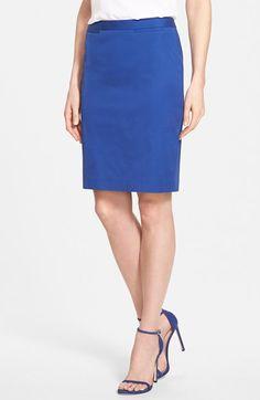 Halogen® Welt Pocket Pencil Skirt (Regular & Petite) available at #Nordstrom But in royal and ivory stripe!