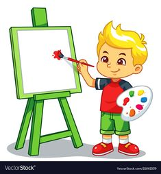 Boy learning to paint on his canvas Royalty Free Vector Art Drawings For Kids, Easy Drawings, Art For Kids, Kids Cartoon Characters, Cartoon Kids, Welcome To School, Flashcards For Kids, School Painting, School Clipart