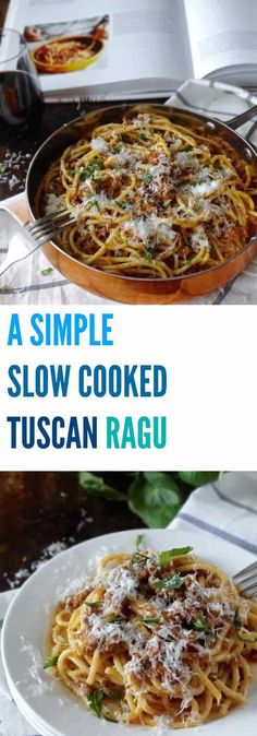 You won't believe how delicious this SIMPLE SLOW COOKED TUSCAN RAGU is with just a handful of ingredients. This is a one pot meal you'll be making over and over again | Plus Ate Six
