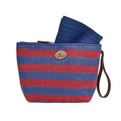Cappelli Straworld Striped Pack-A-Hat Sun Hat with Straw Tote Hand Bag (Red and Blue) *** This is an Amazon Affiliate link. Visit the image link more details.