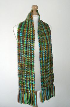 Hand Dyed 100% Wool Chunky Scarf by TheQuiltedWeaver on Etsy