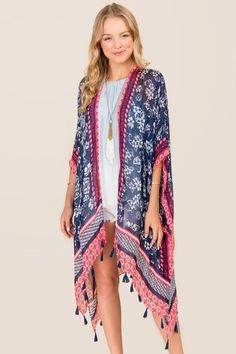 Bri Floral and Tassel Ruana