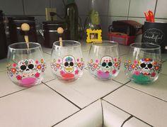 Sugar skull glasses set. - My Sugar Skulls