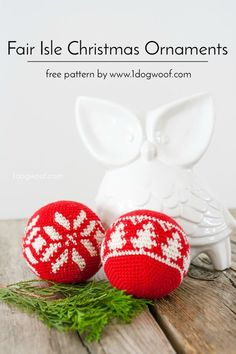 Fair Isle Christmas ornaments, free crochet patterns! There's a fair isle snowflake, and a fair isle evergreen tree. Patterns by 1dogwoof.com
