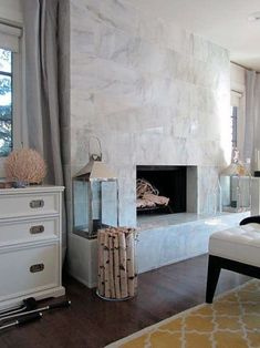 Traditional Home Fireplace Tile Ideas Tiled Fireplace Wall, Fireplace Tile Surround, Home Fireplace, Marble Fireplaces, Fireplace Remodel, Fireplace Surrounds, Fireplace Design, Fireplace Mantels, Fireplace Modern