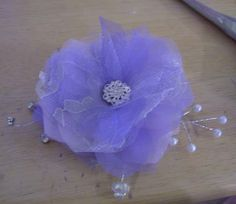 Fabric Fascinator DIY Tutorial Picture Heavy :  wedding bridesmaids ceremony diy fabric flower fascinator purple silver white Flower15