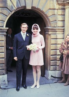 Audrey Hepburn with Andrea Dotti after their wedding in Switzerland, 18th January 1969.