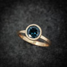 14k Yellow Gold and 7mm Blue Spinel Ring. Ocean Blue Gemstone Solitaire with milgrain detail - One of a Kind Gold Gemstone Ring.    READY TO SHIP