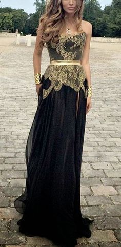 Amazing Gold and Black Maxi Dress