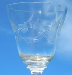 8 Crystal Wine Water Goblets Stemmed Floral Violet Etched Cut Glass Optic Bowl