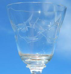 8 Crystal Wine Water Goblets Stemmed Floral Violet Etched Cut Glass Optic Bowl