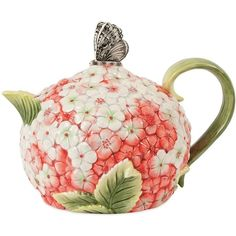 Fitz and Floyd Hydrangea Teapot (€32) ❤ liked on Polyvore featuring home, kitchen & dining, teapots, fitz and floyd teapot, fitz and floyd, hot tea pot and floral teapot