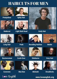 Haircuts for Men Cornrows Men, Pompadour Men, Visual Dictionary, English Vocabulary Words, Sideburns, Bald Heads, Comb Over, Undercut Hairstyles, Grey Hair