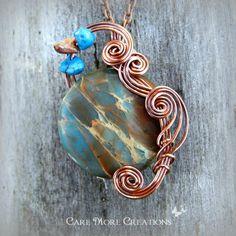 Blue Impression Sea Jasper Wire Wrapped Pendant by CareMore