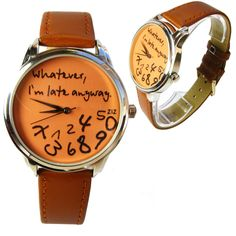 Unisex Handmade Watch with a real leather band - Whatever, I'm late anyway (orange) Unusual Watches, Amazing Watches, Cool Watches, Popular Watches, Van Cleef Arpels, Digital Watch, Luxury Watches, Fashion Accessories, Vogue