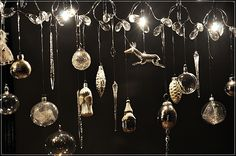 christmas ornaments on a chandelier