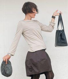 Pullover Donna - T-shirt Crema - Maglia Maniche Lunghe - Maglia Inverno Crema - T-shirt Maniche Lunghe - Top Minimal - T-Shirt Semplice