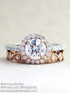 Lenore Custom Rose Gold + Platinum Diamond Halo Engagement Ring With India Rose Gold Diamond Eternity Wedding Ring - designed by Dana Chin and Radika Chin for Dana Walden Bridal NYC