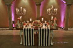 The Spectacular Sunset Wedding of Larissa & Juan Bride Groom Table, Sunset Wedding, Event Company, Al Fresco Dining, Wedding Styles, Table Settings, Chandelier, Invitations, Ceiling Lights