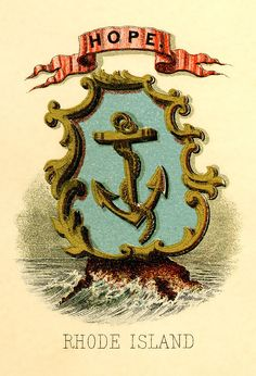 Rhode Island state coat of arms (illustrated, 1876)